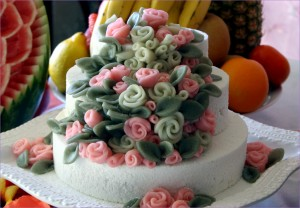 Rose Decorated Rice Cake